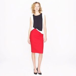 Red J. Crew Double Serge No. 2 Pencil Skirt